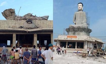 Tượng Phật cao 45m bất ngờ đổ sập