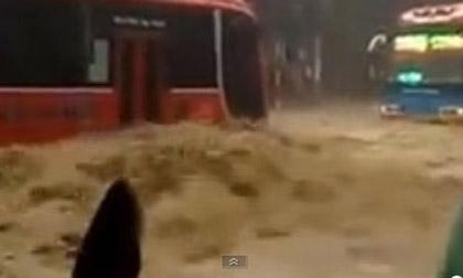 Xe khách chở 40 người 'chết' giữa dòng nước lũ