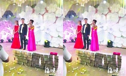 Nhà trai gây sốc khi mang hẳn 20 tỷ tiền mặt lên lễ đường tặng cô dâu