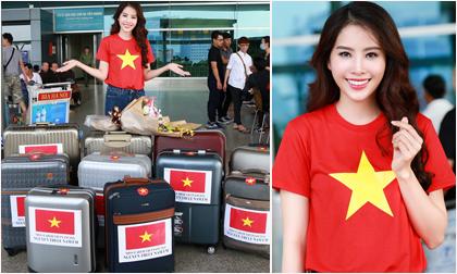 Nam Em mang 150kg hành lý lên đường tham dự Hoa hậu Trái đất