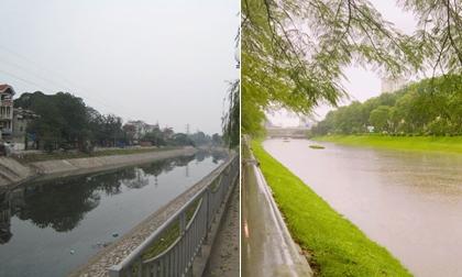 Sông Tô Lịch 'bẩn nổi tiếng' bỗng đẹp lạ lùng sau cơn bão