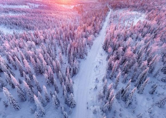 Lapland trắng xóa khi chụp từ trên cao. (Ảnh: Bored Panda)