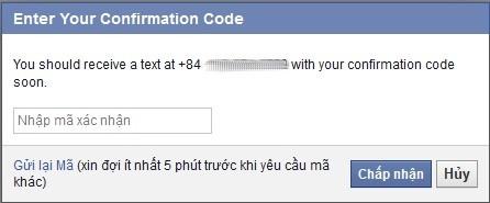 Nhập mã xác nhận từ tin nhắn điện thoại.