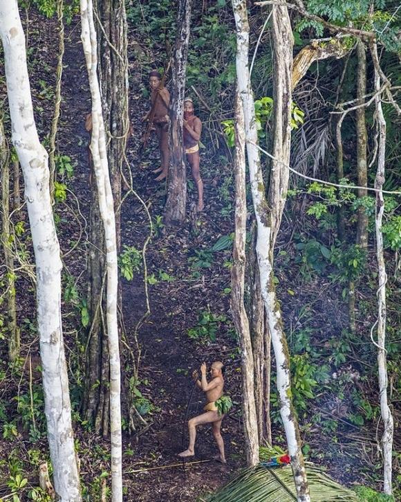 Sự xuất hiện của máy bay trực thăng đã thu hút sự chú ý của các thành viên bộ lạc. Tuy nhiên họ không tấn công dù được trang bị cung tên và lao (Ảnh: Ricardo Stuckert)