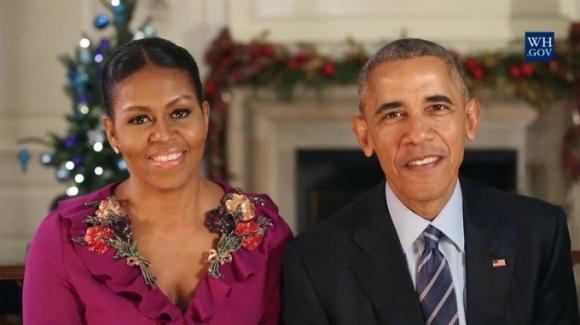 Vợ chồng Tổng thống Obama gửi lời chúc mừng Giáng sinh lần cuối tại Nhà Trắng. (Ảnh: White House)