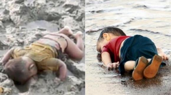 Hình ảnh của em bé Myanmar làm nhiều người liên tưởng tới cái chết thương tâm của em bé Syria.