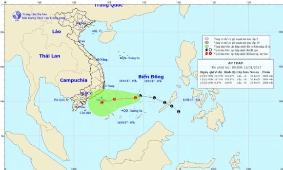 Dự báo hướng đi của áp thấp trên biển. Ảnh: nchmf.gov.vn