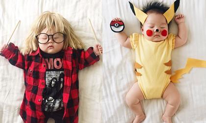 Em bé hóa thành thiên thần cosplay trong giấc ngủ trưa