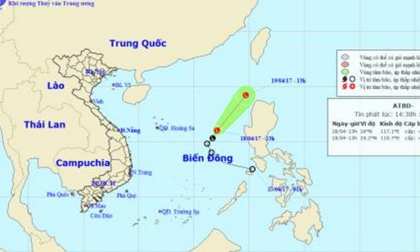 Áp thấp suy yếu, di chuyển hướng Bắc Đông Bắc trên biển Đông