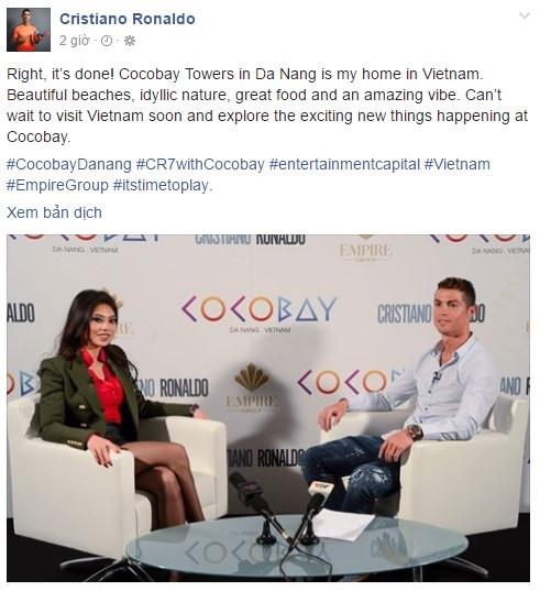 Ronaldo chia sẻ mong muốn được tới Việt Nam.