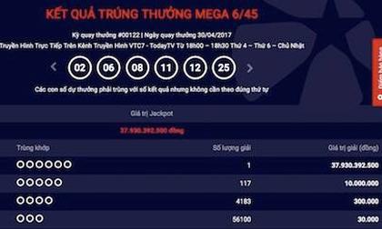 Thông tin mới nhất về tấm vé trúng xổ số Vietlott gần 38 tỉ