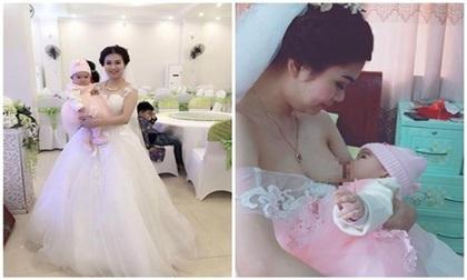 Cô dâu xinh lung linh vừa tổ chức đám cưới vừa cho con bú được ủng hộ nhiệt tình