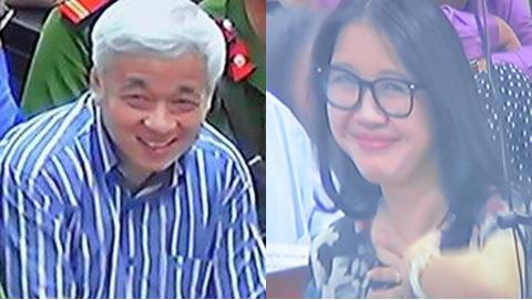 Hình ảnh vợ bầu Kiên mỉm cười với chồng giữa phiên tòa. Ảnh Internet