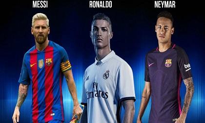 "Đội hình tiêu biểu cúp C1: ""Rực rỡ"" Ronaldo, Messi, Neymar"