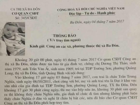 Treo thuong cho ai tim thay be trai 6 tuoi mat tich o Quang Binh hinh anh 1