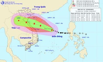 Tin thời tiết hôm nay (14.9): Cơn bão số 10 di chuyển nhanh, giật cấp 15 đang tiến thẳng vào nước ta