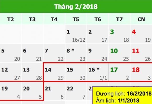 Lịch nghỉ Tết Nguyên đán Mậu Tuất 2018 chính thức - 1
