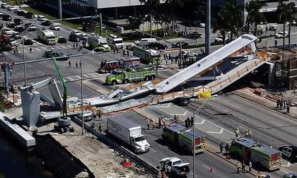Kinh hoàng hiện trường vụ sập cầu 950 tấn khiến nhiều người thương vong tại Mỹ