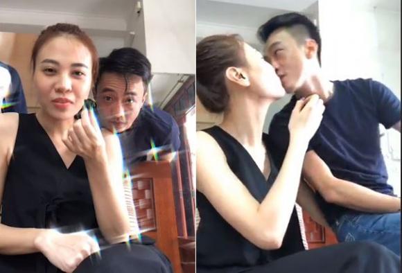 Cường Đô la và Đàm Thu Trang công khai khóa môi nhau