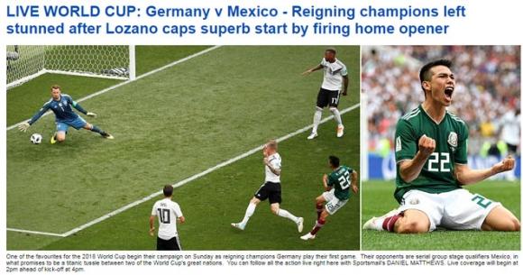 Chấn động World Cup, ĐKVĐ Đức gục ngã: Báo Đức lo loại sớm, báo Mexico mở hội - 1