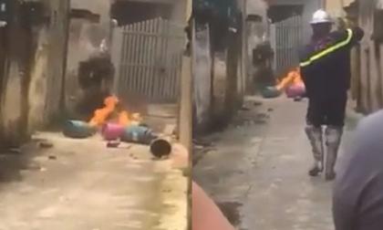 Hà Nội: Con rể vác 4 bình gas đến đốt trước cửa nhà bố mẹ vợ