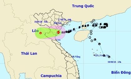 Tâm bão số 4 đổ bộ Thanh Hoá, vịnh Bắc Bộ sóng biển cao 2 - 4 mét