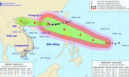 Siêu bão MANGKHUT mạnh lên cấp 17, ban hành công điện khẩn