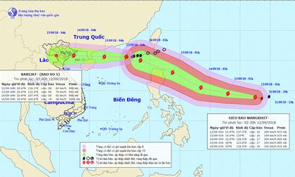 KHẨN CẤP: Siêu bão MANGKHUT giật cấp 16 đang nối sau bão số 5 giật cấp 10 tràn vào Biển Đông