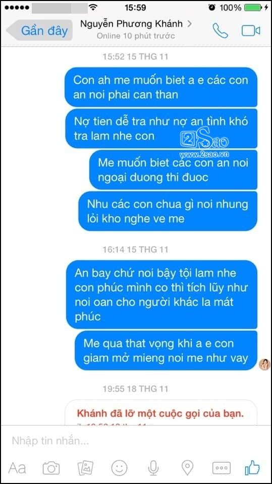Người này nhiều lần nhắn tin cho Phương Khánh nhưng người đẹp không trả lời. Ảnh: 2Sao.vn