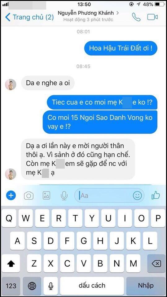 Phương Khánh nhắn tin với nhân vật tên P. về việc không mời người định hướng trong tiệc cảm ơn sau đăng quang. Ảnh: 2Sao.vn