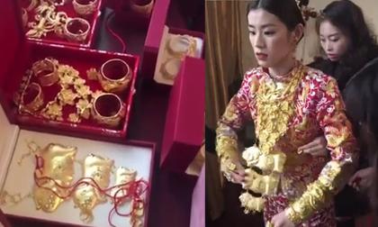 Cô dâu Trung Quốc khoác hơn chục cây vàng trong đám cưới gây xôn xao