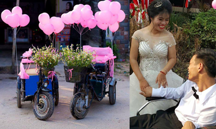 Đám cưới đẫm lệ của chú rể đi xe lăn, cô dâu bước vào cả hôn trường bật khóc