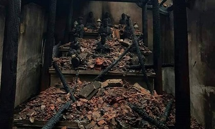 Cháy chùa Thanh Sơn, đồ thờ bị thiêu rụi hoàn toàn