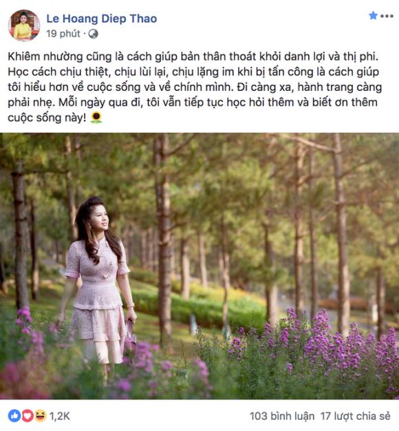 Sau khi muốn tái hợp chồng cũ, bà Lê Hoàng Diệp Thảo chia sẻ nguyên nhân khiến bà chịu lùi lại, chịu thiệt thòi