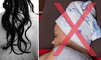Những hiểm họa sức khỏe khủng khiếp nếu bạn thường xuyên để tóc ẩm ướt khi đi ngủ