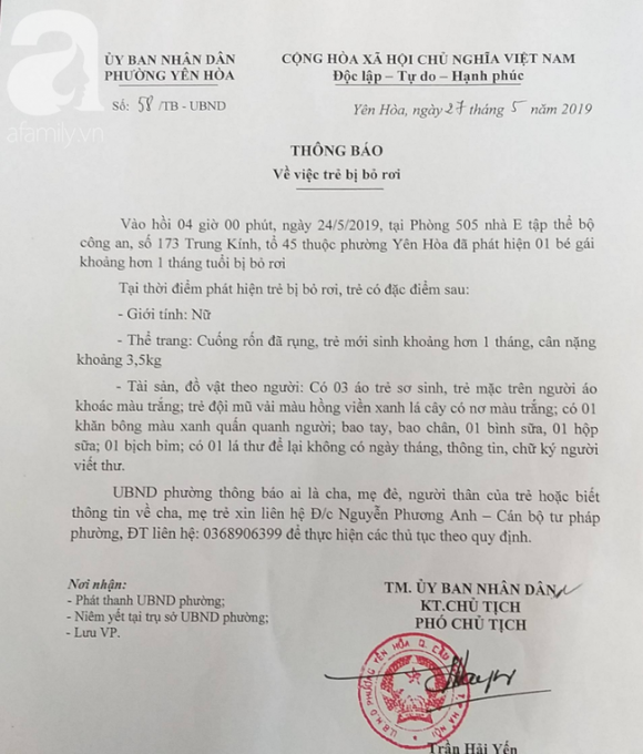 Hà Nội: Người mẹ trẻ đến nhận lại con gái 1 tháng tuổi sau 2 ngày bỏ rơi ở nhà tập thể