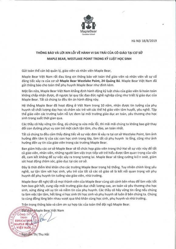 Hà Nội: Trường mầm non Maple Bear thừa nhận cô giáo đã nhốt cháu bé trong tủ quần áo, đóng cửa lại 50 giây vì không nghe lời