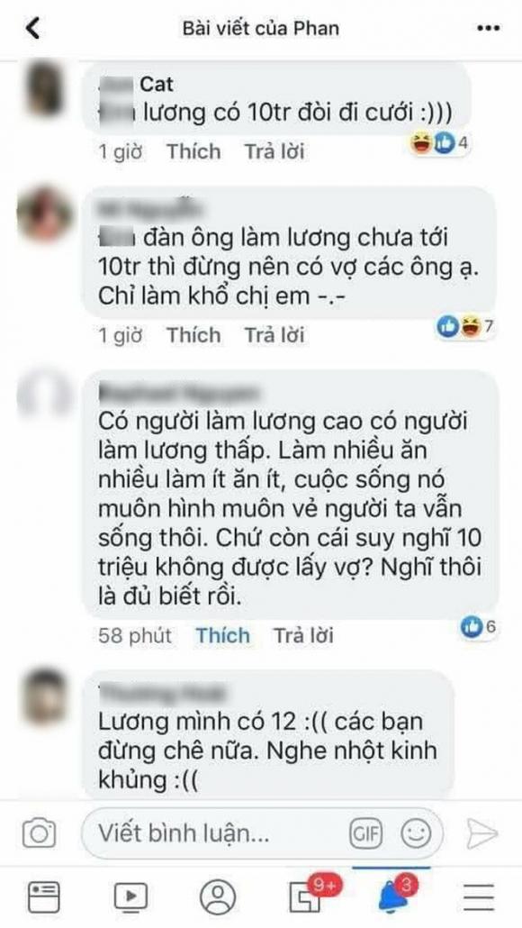 'Đàn ông lương tháng 10 triệu mà đòi cưới vợ?' - câu nói của cô gái gây tranh cãi trên mạng xã hội - 1