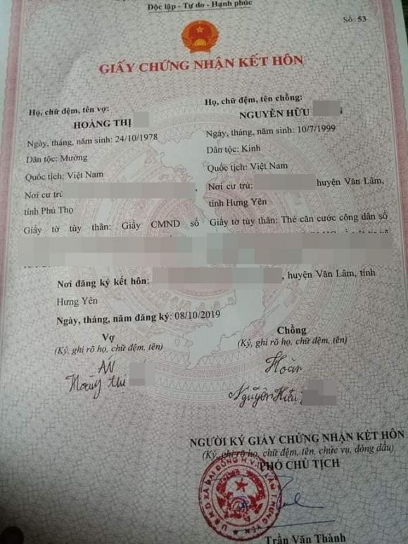 Xôn xao thông tin cô dâu 41 cưới chú rể 20 tuổi, giấy đăng ký kết hôn được chia sẻ trên mạng xã hội - Ảnh 2.