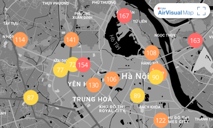 """Chất lượng không khí ngày 4/1: Sáng cuối tuần, Hà Nội lại """"đỏ rực"""", TP.HCM trong lành"""