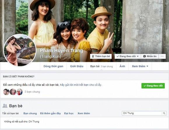 Hiện tại con gái và nghệ sĩ Chí Trung không còn là bạn bè trên facebook.
