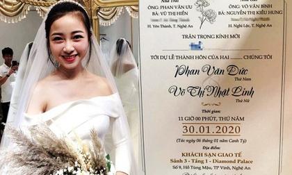 """Thiệp mời đám cưới của Phan Văn Đức và """"hotgirl mầm non"""" có gì đặc biệt?"""