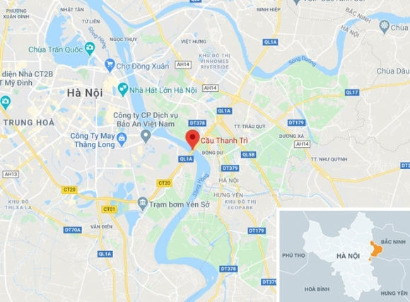 Nguoi phu nu dat con xin tien o cau Thanh Tri bi xe may tong chet hinh anh 2 map_gialam_ttt.jpg