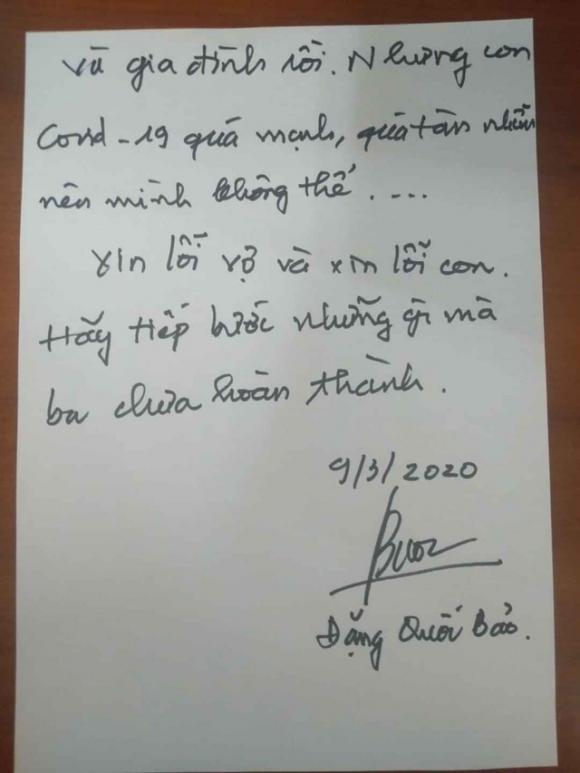 Lời xin lỗi vợ và con trước của Đặng Quốc Bảo khi viết từ vùng