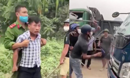 Nhóm côn đồ cầm phóng tấn công tài xế trước mặt công an