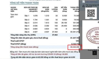 Người dân bất ngờ với hóa đơn tiền điện gần 90 triệu đồng