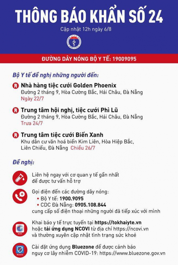 Bộ Y tế ra thông báo khẩn tìm người từng đến 3 trung tâm, nhà hàng tiệc cưới ở Đà Nẵng