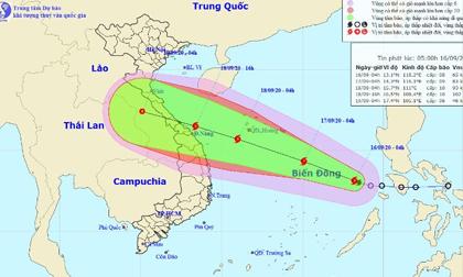 Thời tiết ngày 16/9: Bão số 5 di chuyển nhanh về các tỉnh miền Trung, liên tục mạnh thêm