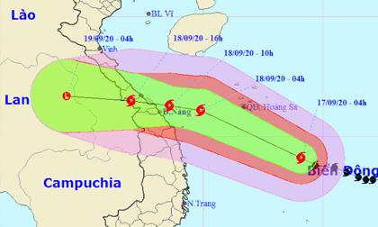 Thời tiết ngày 17/9: Bão số 5 tiến vào Quảng Bình- Quảng Ngãi gây mưa lớn