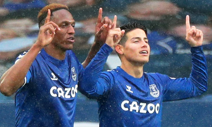 James Rodriguez lập cú đúp đưa Everton trở lại ngôi đầu